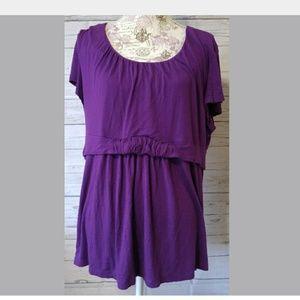 Daisy Fuentes 1X purple short sleeve scoop neck